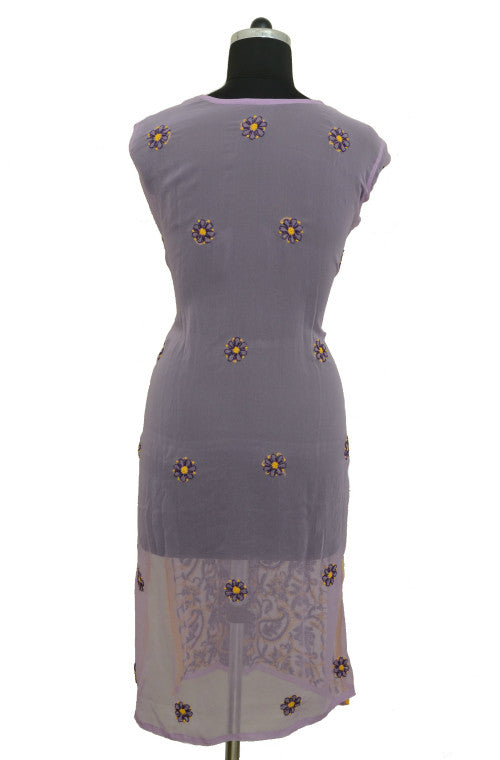 Lavender Long Georgette Kurti with Chikankari Embroidery - Saira's Boutique - 2