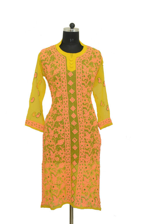 Pink & Yellow Long Georgette Kurti with Chikankari Embroidery - Saira's Boutique - 1
