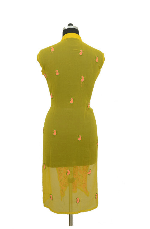 Pink & Yellow Long Georgette Kurti with Chikankari Embroidery-Saira's Boutique