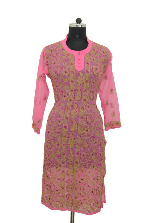 Dark Pink Long Georgette Kurti with Chikankari Embroidery - Saira's Boutique - 1