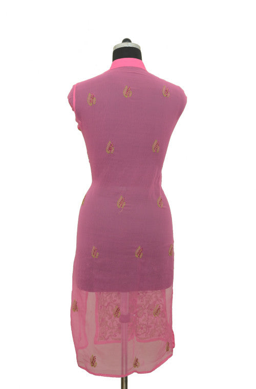 Dark Pink Long Georgette Kurti with Chikankari Embroidery - Saira's Boutique - 2