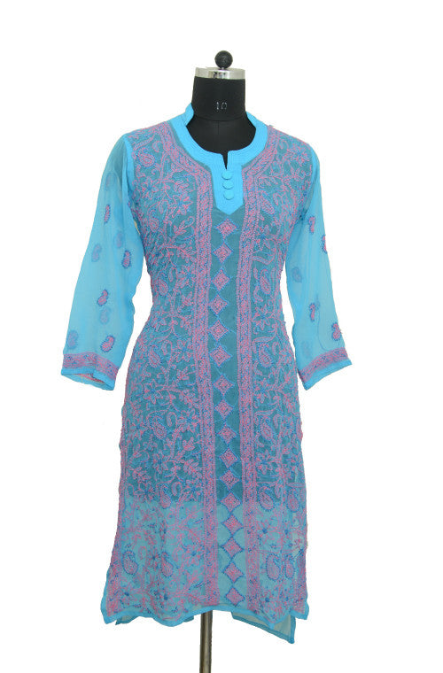 Blue Long Georgette Kurti with Chikankari Embroidery - Saira's Boutique - 1