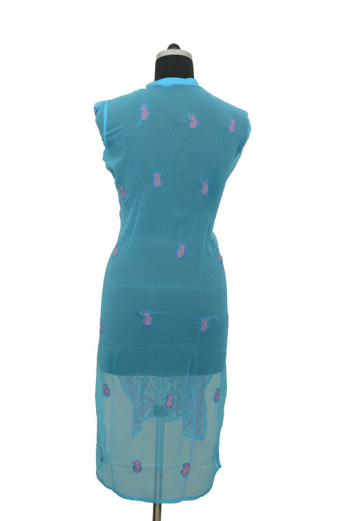 Blue Long Georgette Kurti with Chikankari Embroidery-Saira's Boutique