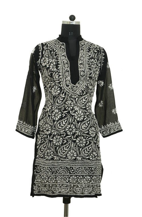 Black Short Georgette Kurti with Chikankari Embroidery - Saira's Boutique - 1