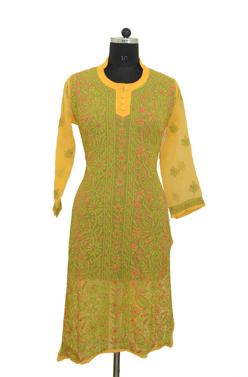 Green Yellow Long Georgette Kurti with Chikankari Embroidery - Saira's Boutique - 1
