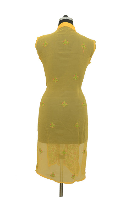 Green Yellow Long Georgette Kurti with Chikankari Embroidery-Saira's Boutique