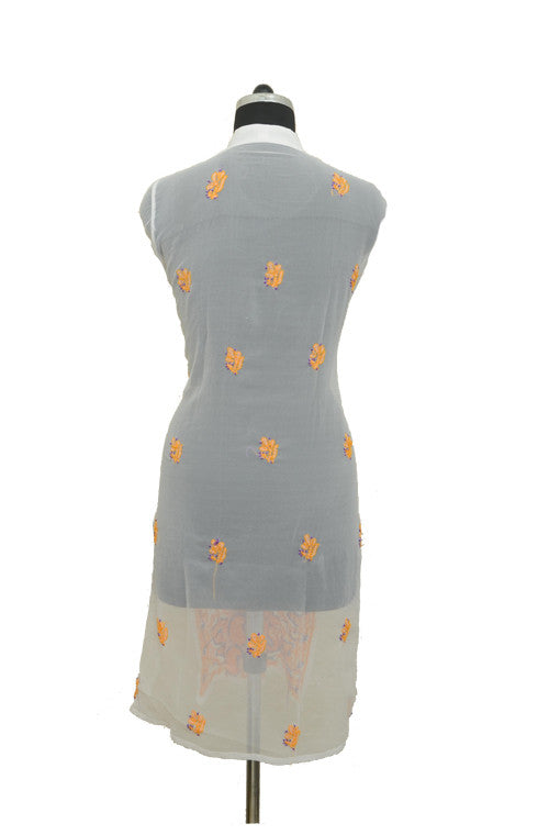 White Orange Long Georgette Kurti with Chikankari Embroidery-Saira's Boutique