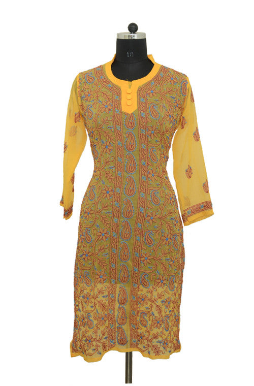 Yellow Long Georgette Kurti with Brown Chikankari Embroidery - Saira's Boutique - 1