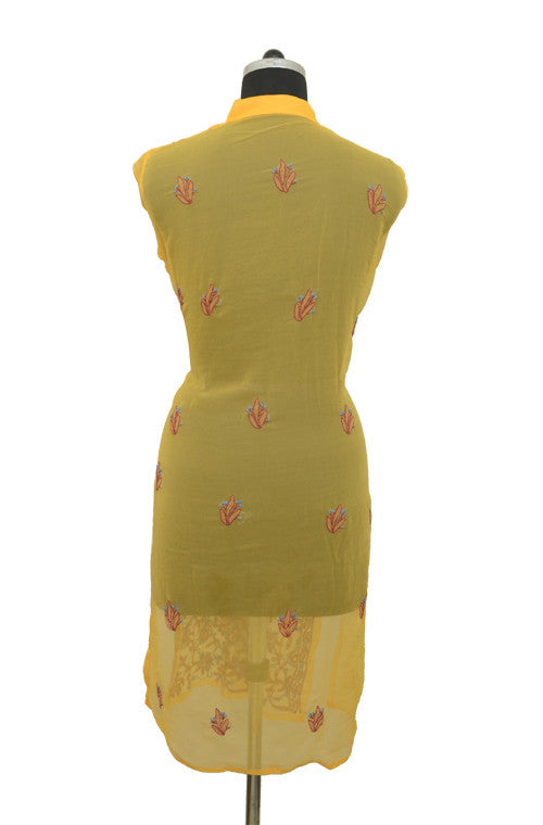 Yellow Long Georgette Kurti with Brown Chikankari Embroidery-Saira's Boutique