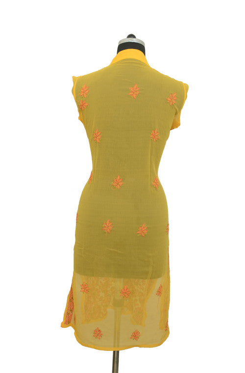 Yellow Long Georgette Kurti with Orange Chikankari Embroidery-Saira's Boutique