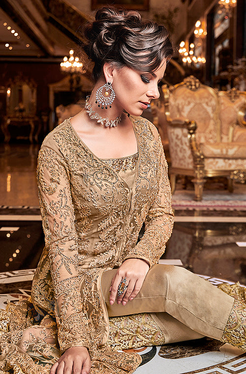 Dark Beige Designer Embroidered Lehenga Style Bridal Anarkali Suit-Saira's Boutique