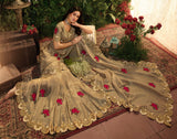 Dark Beige Designer Embroidered Viscose Tissue Party Wear Saree-Saira's Boutique
