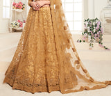 Dark Beige Designer Heavy Embroidered Bridal Lehenga-Saira's Boutique