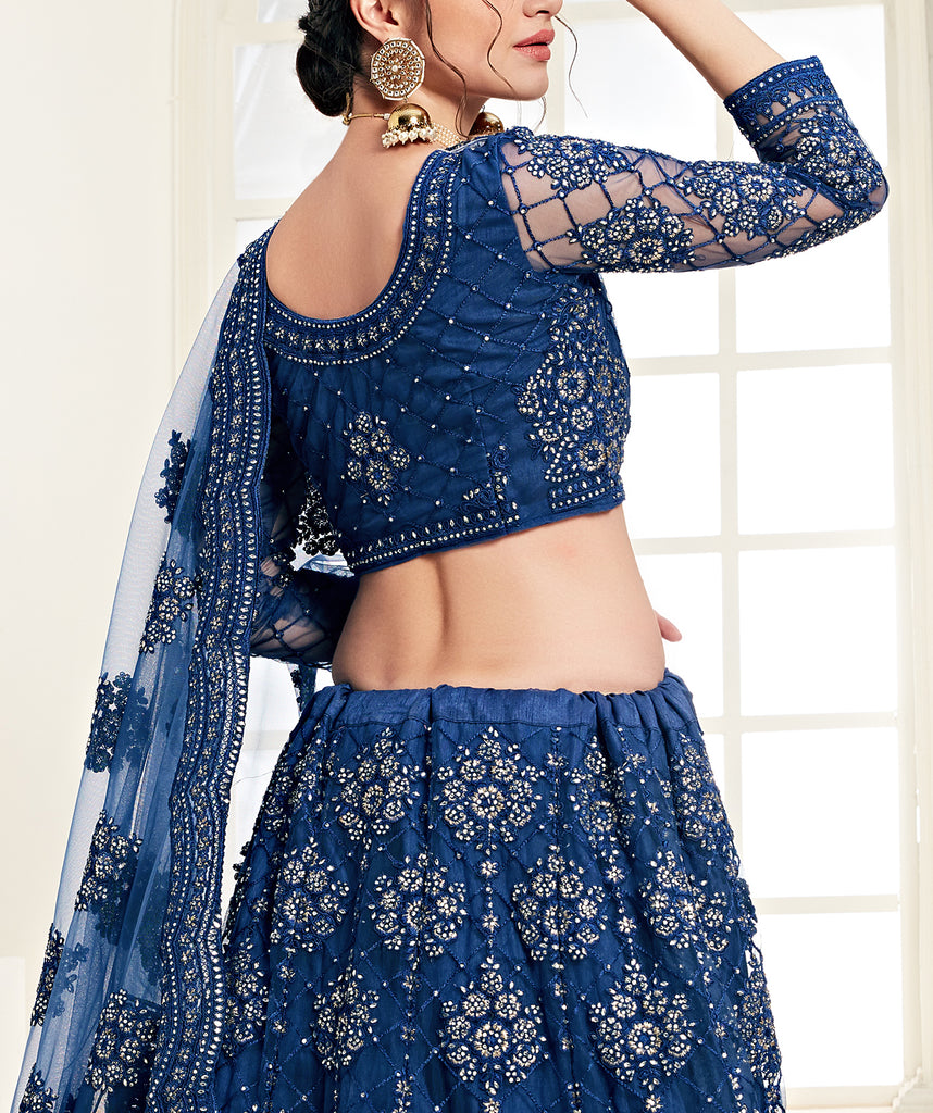 Dark Blue Designer Heavy Embroidered Bridal Lehenga-Saira's Boutique