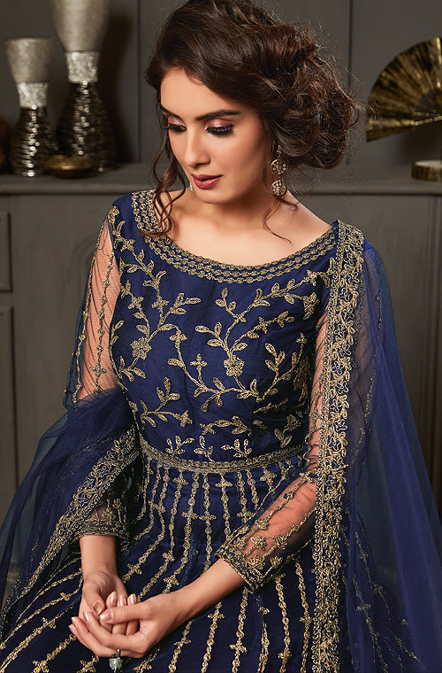 Dark Cobalt Blue Designer Heavy Embroidered Wedding Anarkali Gown-Saira's Boutique