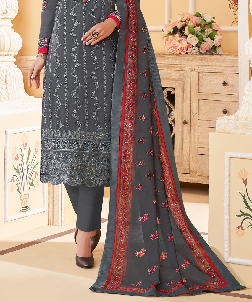 Dark Gray Designer Embroidered Georgette Party Wear Pant Suit-Saira's Boutique