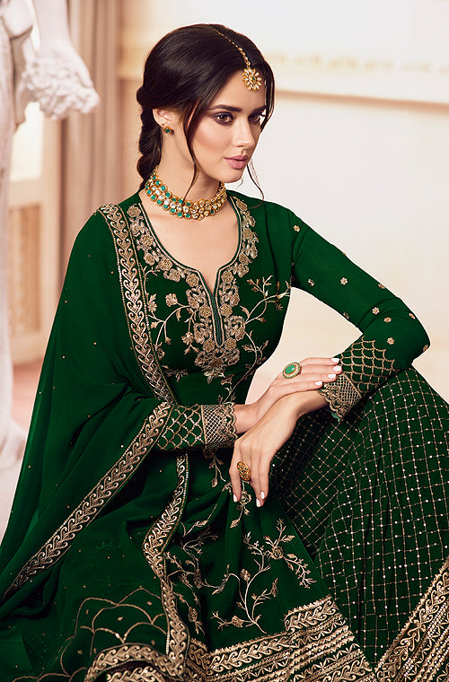 Dark Green Designer Embroidered Georgette Sharara Suit-Saira's Boutique