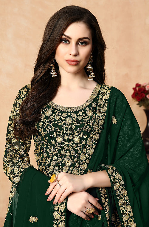 Dark Green Designer Heavy Embroidered Georgette Anarkali Suit-Saira's Boutique