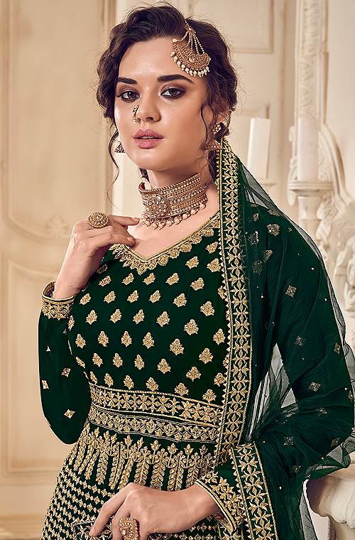 Dark Green & Gold Designer Heavy Embroidered Wedding Sharara Suit-Saira's Boutique