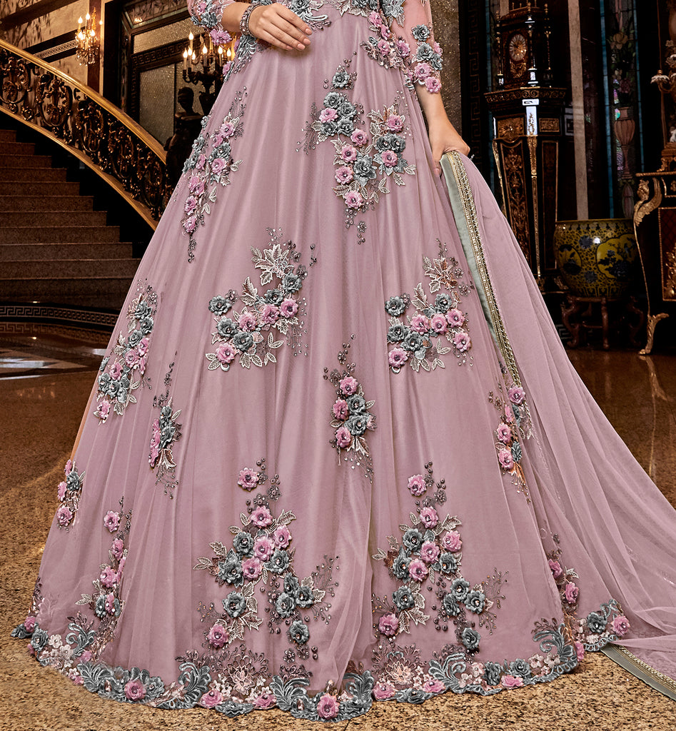 Dark Mauve Designer Heavy Embroidered Net Wedding Anarkali Gown-Saira's Boutique