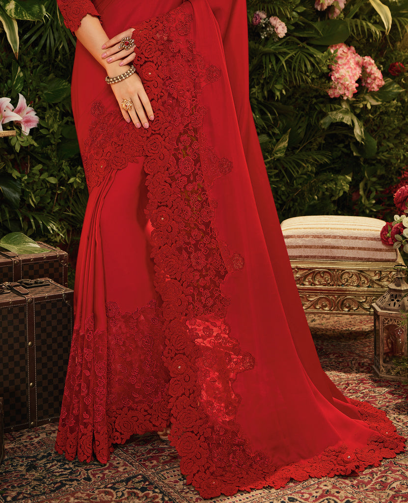 Dark Red Designer Embroidered Satin Silk Party Wear Saree-Saira's Boutique