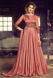 Dark Salmon Pink Designer Embroidered Satin Anarkali Gown-Saira's Boutique