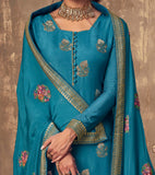 Dark Sky Blue Designer Embroidered Party Wear Palazzo Suit-Saira's Boutique