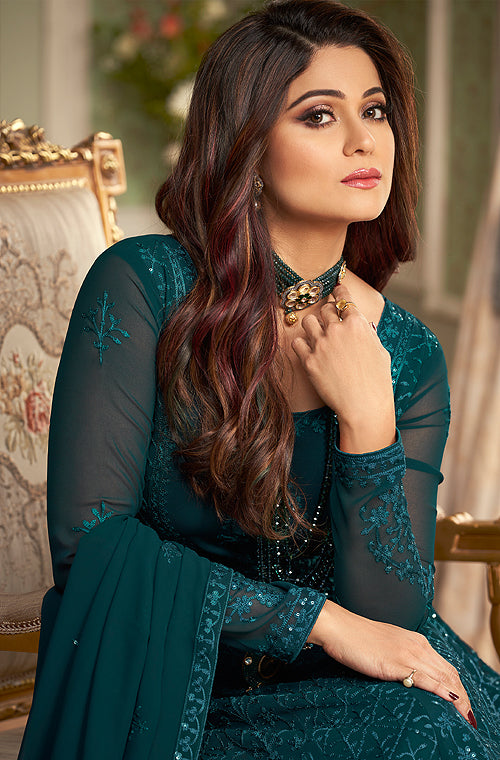 Dark Teal Blue Designer Heavy Embroidered Wedding Anarkali Suit-Saira's Boutique