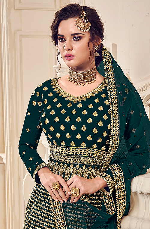Dark Teal & Gold Designer Heavy Embroidered Wedding Sharara Suit-Saira's Boutique