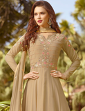 Dark Beige Designer Embroidered Georgette Party Wear Anarkali Suit-Saira's Boutique