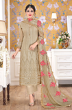 Dark Beige Designer Embroidered Georgette Straight Cut Pant Suit-Saira's Boutique