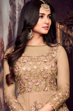 Dark Beige Designer Embroidered Net Anarkali Suit