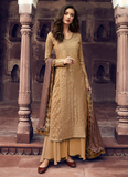 Dark Beige Designer Embroidered Silk Jacquard Party Wear Palazzo Suit-Saira's Boutique
