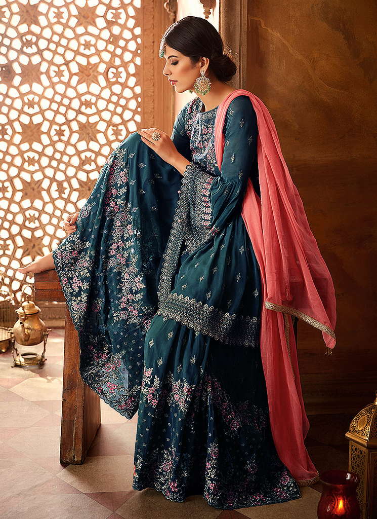 Dark Blue & Coral Pink Designer Heavy Embroidered Georgette Sharara Suit-Saira's Boutique