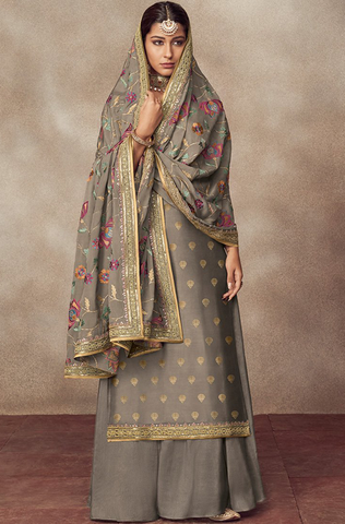 Brandy Rose Designer Heavy Embroidered Silk Jacquard Sharara Suit
