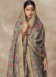 Dark Gray Designer Heavy Embroidered Silk Jacquard Sharara Suit-Saira's Boutique