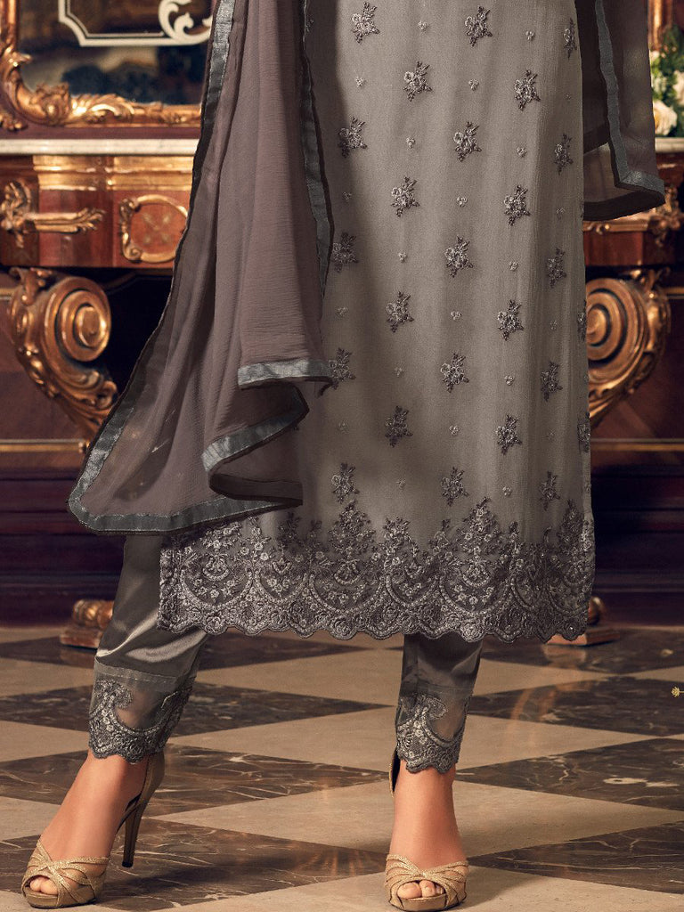 Dark Gray Georgette Designer Embroidered Pant Suit