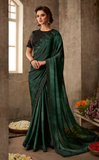Dark Green & Black Designer Embroidered Silk Party Wear Saree-Saira's Boutique