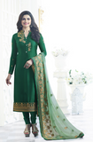 Dark Green Crepe Designer Embroidered Churidar Suit-Saira's Boutique