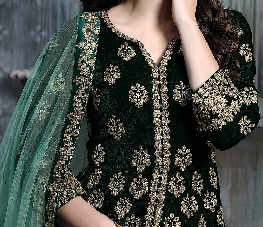 Dark Green Designer Embroidered Lehenga Style Velvet Anarkali Suit-Saira's Boutique