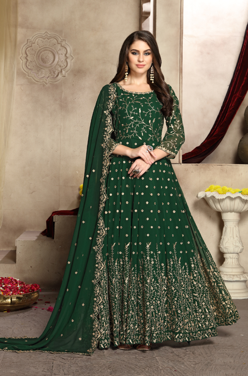 Dark Green Designer Heavy Embroidered Georgette Wedding Anarkali Suit-Saira's Boutique