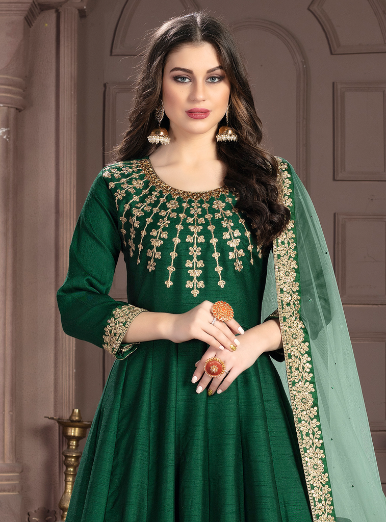 Dark Green Designer Heavy Embroidered Silk Wedding Anarkali Suit-Saira's Boutique