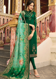Dark Green Embroidered Satin Georgette Churidar Suit-Saira's Boutique