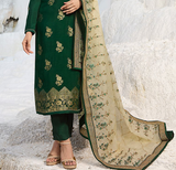 Dark Green & Light Cream Designer Embroidered Party Wear Pant Suit-Saira's Boutique