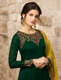 Dark Green & Mustard Designer Embroidered Satin Georgette Pant Suit-Saira's Boutique