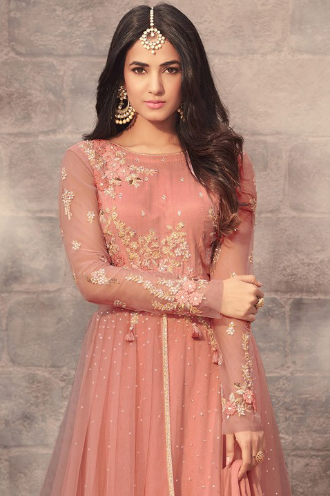 Dark Peach Designer Embroidered Net Wedding Anarkali Suit-Saira's Boutique