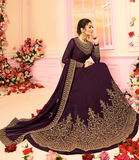 Dark Purple Designer Heavy Embroidered Georgette Wedding Anarkali Suit-Saira's Boutique