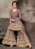 Dark Purple Gray & Gold Designer Embroidered Wedding Net Palazzo Suit-Saira's Boutique