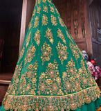 Dark Sea Green Designer Heavy Embroidered Bridal Anarkali Gown-Saira's Boutique