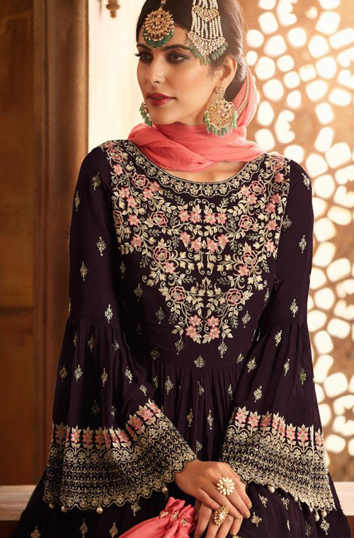 Dark Wine & Coral Pink Designer Heavy Embroidered Georgette Sharara Suit-Saira's Boutique